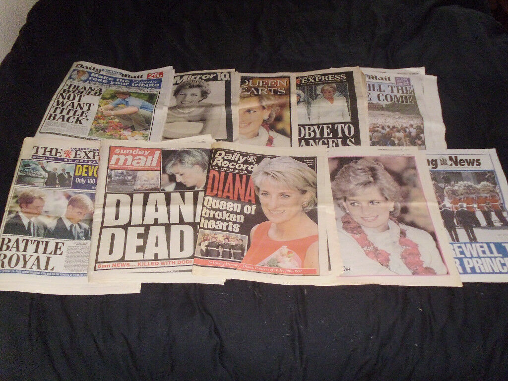 10 NEWSPAPERS ,PRINCESS DIANA'S DEATH 1997 IN GOOD CONDITION