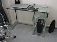 Glass and chrome computer and printer desk's
