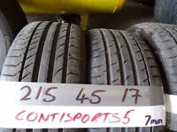 matching set of 215 45 17 contisport5s 8mm tread £120 FOR SET sup &fitd opn 7 days 5pm