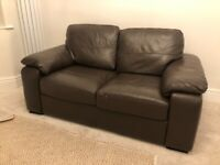 2 Seater Brown Leather Sofa - Used