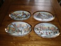 A Golden Collection of 4 Limited Edition Davenport Fine Porcelain Christmas Plates