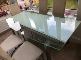 Extendable Glass dining Table and 8 Chairs