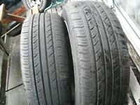 MATCHING PAIR 185 X 55 X 15 TYRES,VERY GOOD COND/TREAD, FITTED 2015,ON TWO 4 X 100 VAUXHALL STEELS
