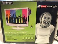 White Technika HD Ready 19 inch LCD/DVD TV with Remote, Stand and Wall Bracket