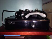 Xbox 360 console with 2 controllers