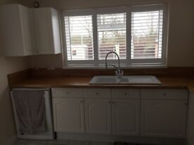Kitchen cupboards. Dbl oven/induct.hob. Wood tops. Blanco sink no taps. Nearly new
