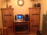 Rustic, reclaimed, Chunky, large plank pine gothic style cabinets x 2