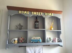 Kitchen wall display unit 'home sweet home' pine