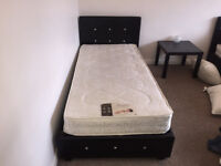 two single beds, raiser mechanism with storage under neath.