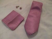 Mens Formal Pink 100% Silk Neck Tie, Pocket Square & Cufflink Set