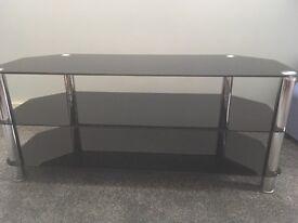 Black glass/chrome TV stand, 3 tier, 144(w) x 45(d) x 49(h)