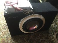 "10"" Competition subwoofer with built on Mosfet amp, Very powerful due to large cone and 8"" magnet"