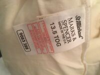 13.5 tog double duvet, M&S, polyester filling. Old but clean and free if useful for someone :)
