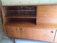 1970's retro teak sideboard with bureau and display cabinet
