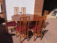Danish made designer table & chairs AND quality super carpet