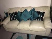3 seater reclining sofa. Cream leather