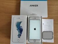 iPhone 6s Silver 64GB Unlocked (Mint condition) + 2x Anker Tempered Glass Screen Protector