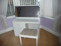 WHITE 3 DRAWER DRESSING TABLE WITH MIRROR