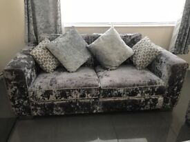 2 and 3 seater silver crushed velvet sofas and pouffe. Cost over £3000, selling for £400