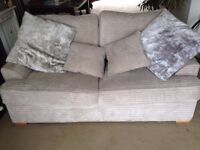 Sofa Bed - soft Grey Corduroy - Excellent Condition - reduced to £150 !!