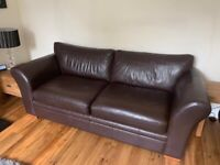 Next Large 3 seater and 1 snuggle seat armchair (2 seats) brown leather