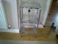 Three tier chrome & glass side table