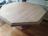 Hexagon shaped marble dining table