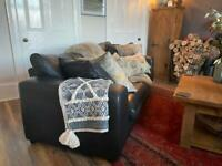 Beautiful Designer Leather Three Seater Sofa And Matching Two Seater Sofa