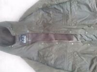 Barbour wax jacket with hood and fur inside