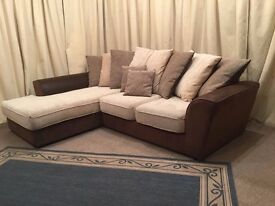 Corner Sofa - Modern Beige & Brown Settee -UK Delivery Available