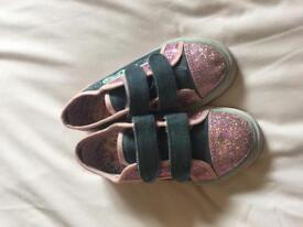 Girls sparkly canvas trainers size 12