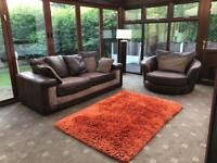 Brown Suede 3 Seater Sofa + Swivel Chair Excellent Condition 3 Years Old