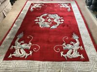 Vintage Hand Made Chinese Red Dragon Pure Wool Carpet