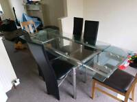 6 seater extendable glass table