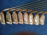 Ping ISI Beryllium Copper irons with Ping U44 graphite shafts, 3 iron to P/Wedge + Ping Eye2 S/W.