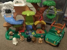 Fisher Price Little People large safari playset and safari truck with animals and people