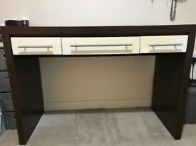 Next Brown wood/white gloss dressing table