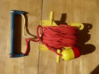 Waterski tow rope, handle and winder
