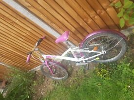 , bikestand and chain guard, white and pink colour, very easy to ride and good condition