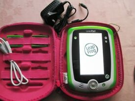 Green Leapfrog Leappad with stylus, USB computer lead and plug, case, & 2 Leapster Explorer games