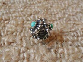Pandora Barrel Clasp Bracelet Flower Spacer Charm with Turquoise Blue Bead Centres