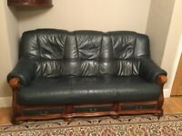 Leather 3 seater, 2 seater & chair suite