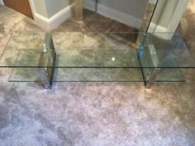 Large clear glass TV unit stand