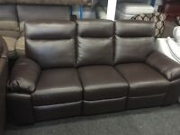 New/Ex Display LazyBoy Brown Leather 3 Seater Recliner Sofa
