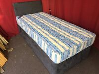 FAUX SUEDE SINGLE DIVAN BED WITH MATTRESS AND HEADBOARD,CAN DELIVER