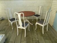 Victorian Antique Pedestal Table and Four Dining Chairs