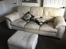 3 seater and 2 seater leather cream
