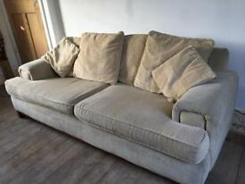 Three seater cream sofa - v comfy and hardwearing