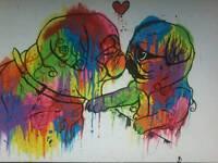 Pug painting on canvas