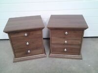 Ex display dark wood colour PAIR bedside cabinets. Less 1/2 shop SALE price, can deliver.
